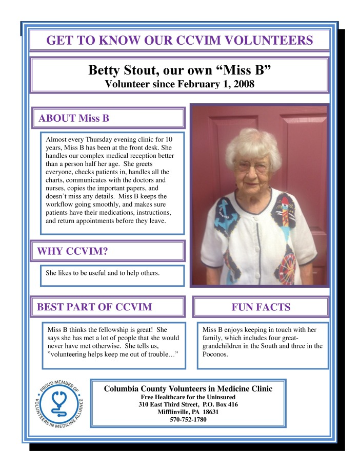Get to know our volunteers Miss B-page-0